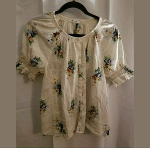 Madewell Floral  Button Down Boho Shirt Size Small